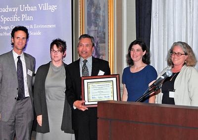 15-Neighborhood Planning Award, West Broadway Urban Village Specific Plan. David Early, AICP, and Melissa Erikson (DC&E); Ray Corpuz (Seaside City Manager); Darcy Kremin (Northern Section Director); Sally Barros, AICP (juror)