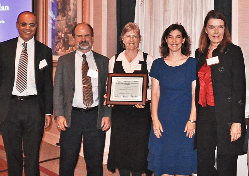 19-Comprehensive Planning – Small Jurisdiction (Award of Merit), Emeryville General Plan. Rajeev Bhatia, AICP (Dyett & Bhatia), Charles S. Bryant, AICP (Director of Planning and Building, City of Emeryville), Deborah Diamond, AICP (Project Manager, City of Emeryville), Darcy Kremin, AICP (Northern Section Director), Patricia Jeffery (Planning Commissioner, Chair of General Plan Update Steering Committee)