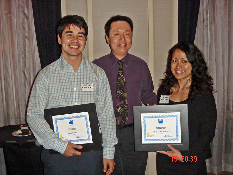 CPF Northern Section Awards were presented by Hing Wong (center) to Dennis Freeman, SJSU, and M. Cherry R. G. Ordonez, UC Berkeley