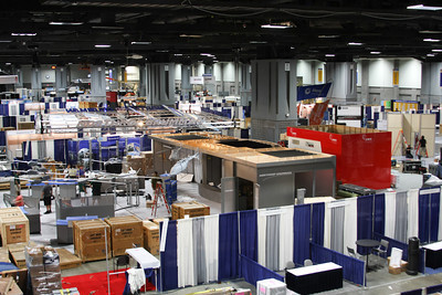 Day 1 - The show floor during setup.  We're behind Northrup and DRS.