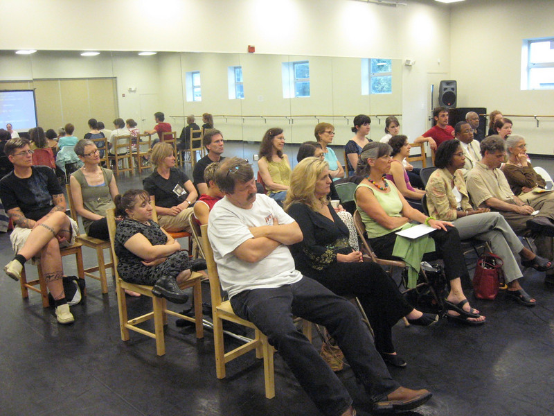Attendees assemble for presentations following a reception -- guests included Andrea Snyder of Dance/USA, Elena Widder of VSAarts, Suzanne Richard of Open Circle Theatre, Carmen Boston of NASAA (National Assembly of State Arts Agencies), choreographer Deborah Riley, and freelance audio describers Mike Cohen and Maryanne Metz.