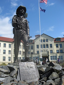 The Prospector's statue outside the Pioneer's Home (assisted living)