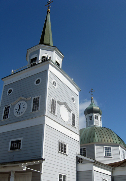 The steeples of St. Michael's Cathedral in Sitka