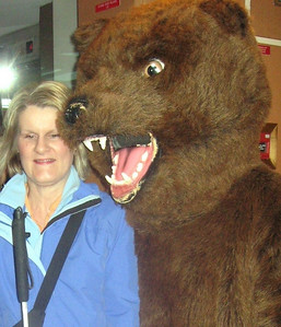 Disembarking at Sitka, Jennie is sent off by the Celebrity's resident brown bear