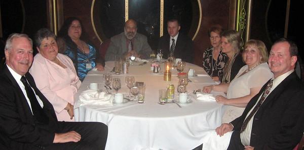 "At ""formal"" night:  left to right--Gary and Marlaina Lieberg, Valory Lawrence, me, Matthew Janusauskas, Roberta Emery, Jennie Emery, Barbara and Tom Janusauskas"