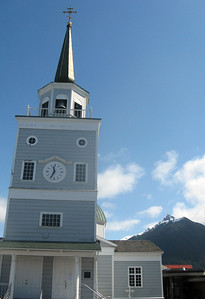 The St. Michael's steeple on the left--the steep surrounding mountainview on the right