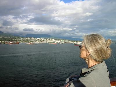 Esther surveys Vancouver's Burrard Inlet as we depart.