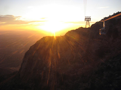 Sunset viewed from the tram.