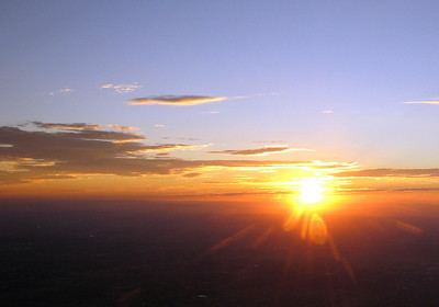 Sunset from the Sandia Peak summit, 10,000 + feet up.
