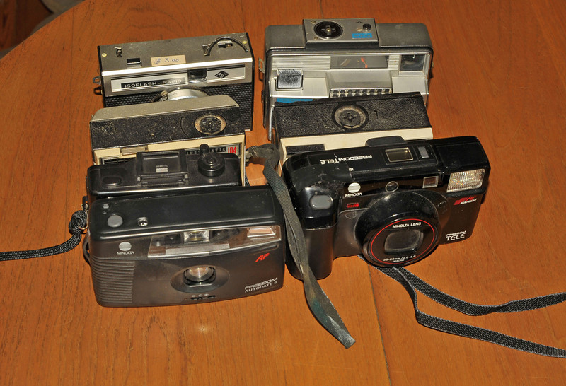 Vintage Antique Cameras - Before cleaning and testing