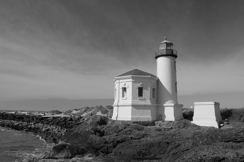 Coquille River Lighthouse, Bandon Oregon.  The lighthouse was first lit on February 29, 1896. The station consisted of a 40-foot tower and octagonal fog signal room. The tower housed a fourth-order Fresnel lens. The oil house stood on an adjacent platform.