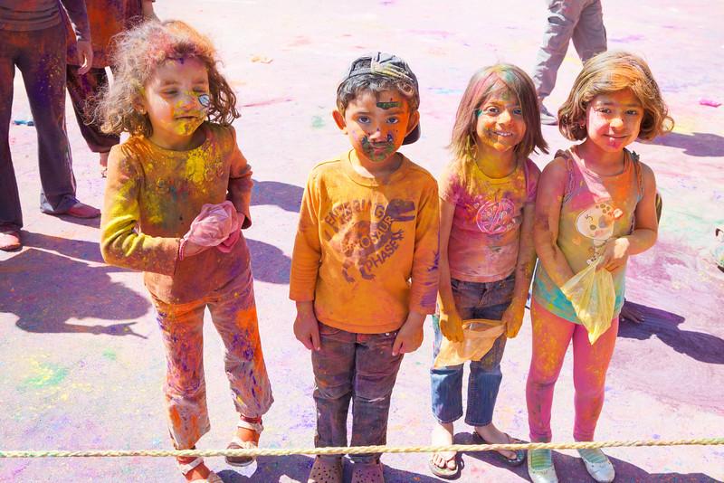 Friends (L->R) Simi; Ethan; Aria & Prisha playing holi