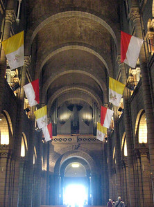 Interior view of the cathedral where Grace Kelly married Prince Rainier.
