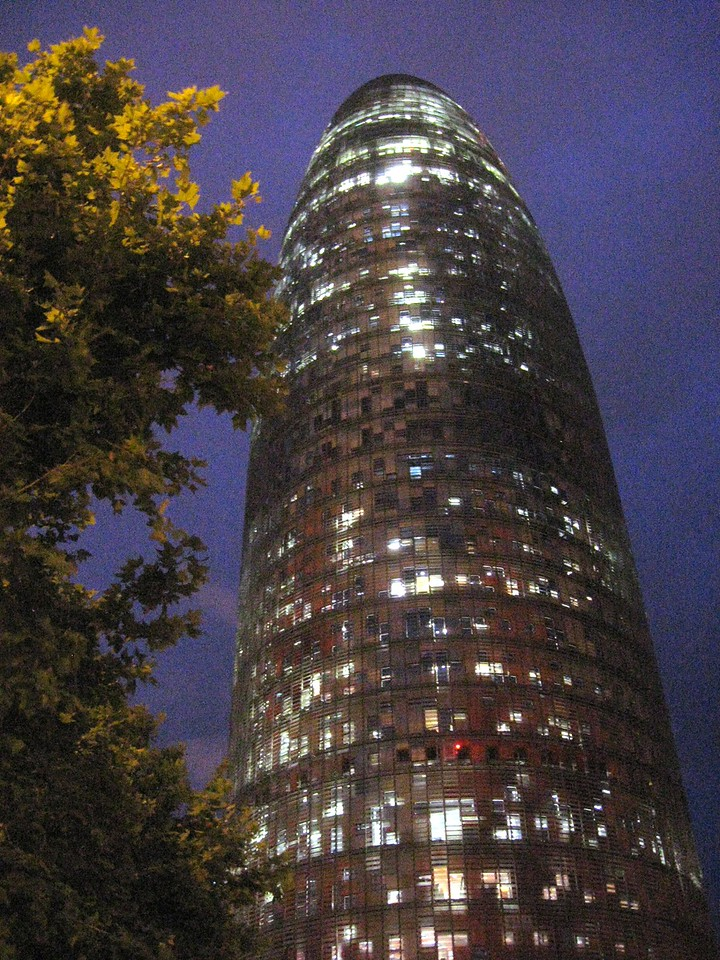 Torre Agbar at night--designed by French architect Jean Nouvel (who was either smoking too many cigars or eating too many pickles before he went to work ...).