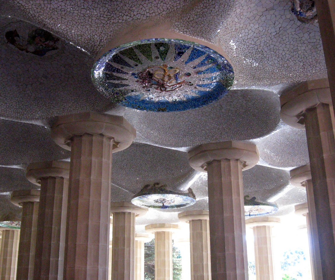 Below the grand Square of Parc Guell.
