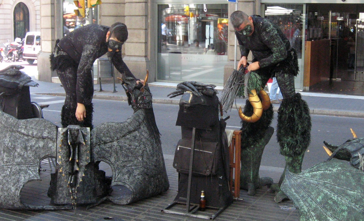 "La Rambla performance artists--caught ""backstage."""