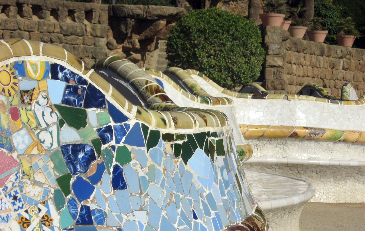 The serpentine bench of the grand Square of Parc Guell providing broad vistas of Barcelona.