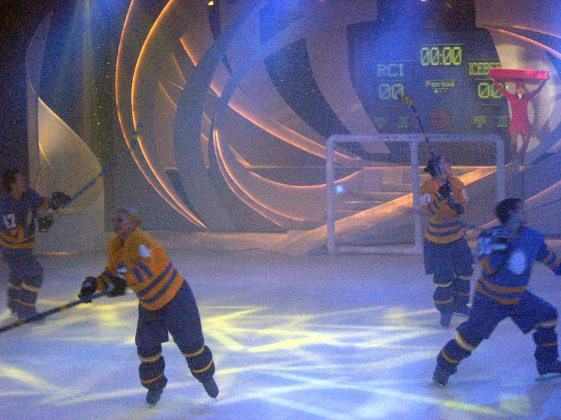 Even a mock hockey game--notice the scoreboard:  RCI (Royal Caribbean International) vs. Iceberg.