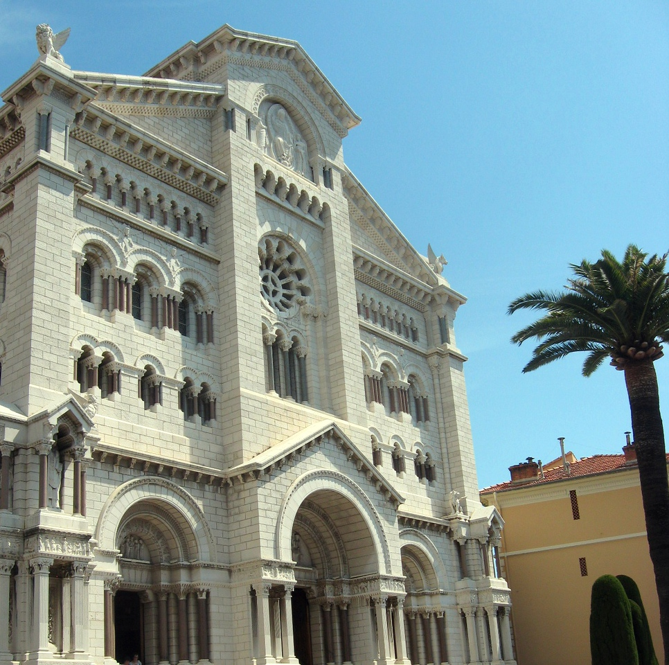 Exterior of the cathedral where Grace Kelly married Prince Rainier.