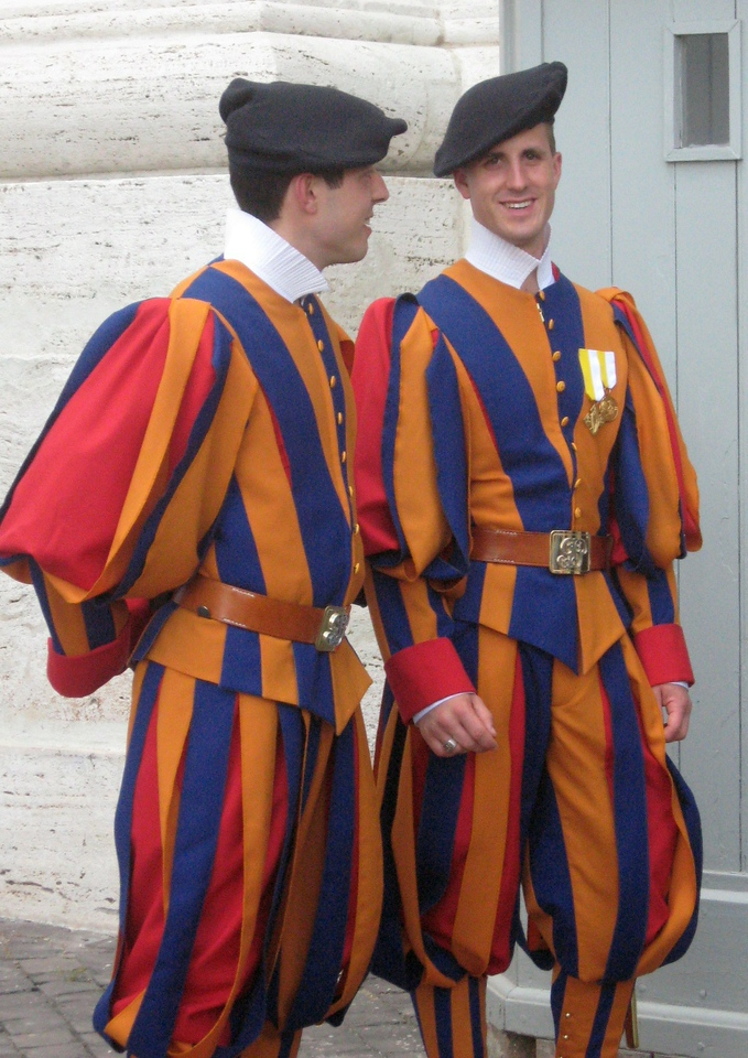The Pope's Swiss Guards ... uh, at ease.