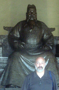 Yongle, the third Ming Emperor, with describer (this guy--the Emperor--moved the capital from Nanjing to Beijing and oversaw the construction of the Forbidden City)