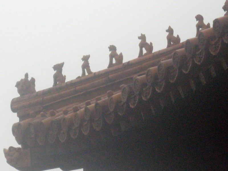 Detail of the roof--the emperor gets the most creatures on the roof ...