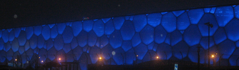 "Speaking of the Olympics, let's go!  Pictured here is ""The Water Cube,"" site of the aquatics competitions"