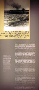 This placard tells of the horror at Treblinka.  The photo was presented in evidence at the eventual trial of Treblinka's commandant--it shows smoke rising from fires set to the buildings at Treblinka by imprisoned Jews revolting at the camp.
