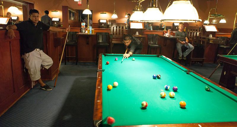 Pedro Alberto & Humberto Farfan @ the pool tables.