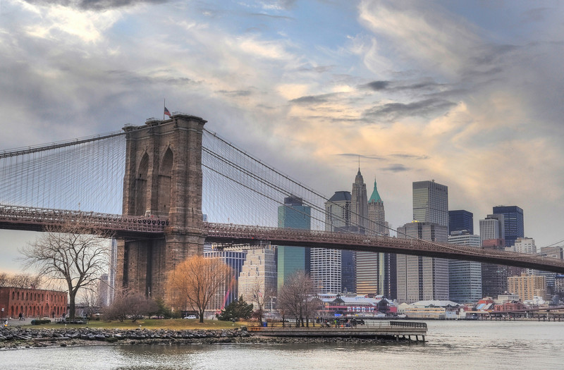 Brooklyn Bridge near sunset