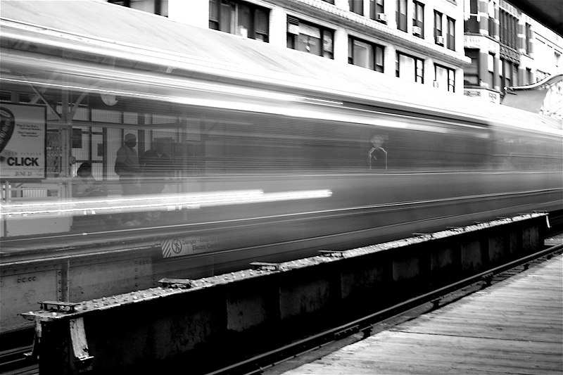"The orange line ""L"" (Chicago's train system). Modified contrast and sharpness."