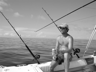 Cory....off the northeast coast of Bimini! and he's not thinking about the fish!