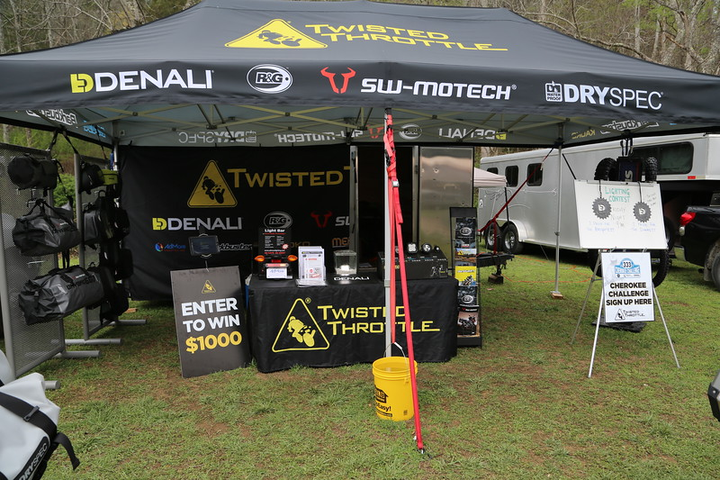 Tent, table skirt, backdrop and signage at March Moto Maddness 2017 in Tellico Plains, TN.