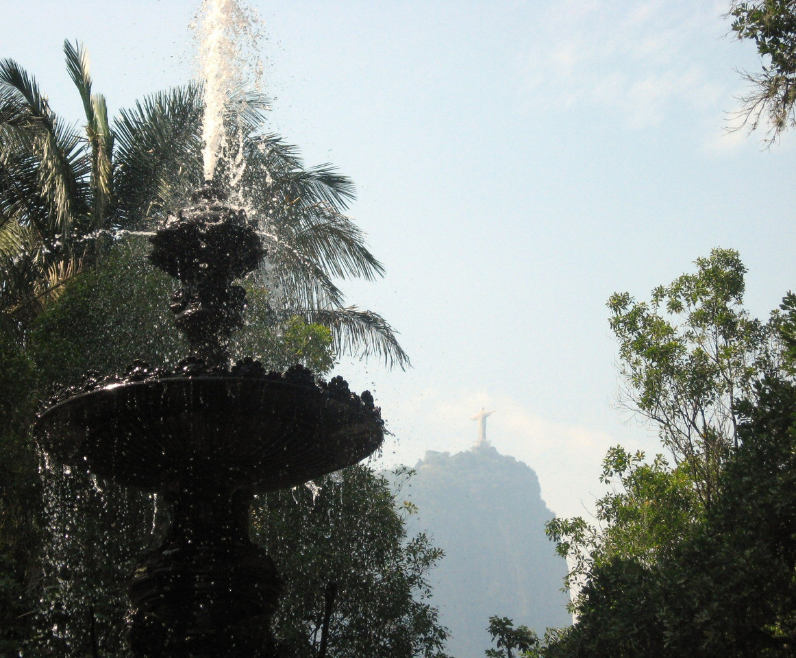 The Garden's Fountain of the Muses--Cristo Redento is in the background.
