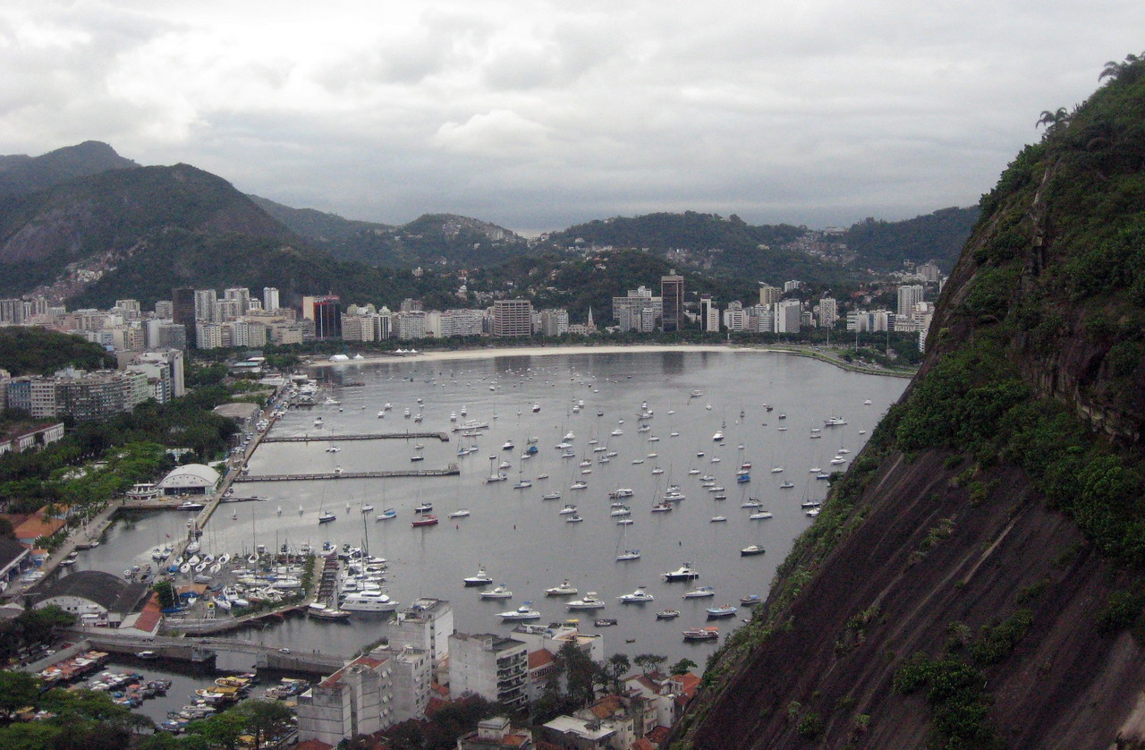 On the way to the midway point (at Morro da Urca), overlooking Guanabara Bay.