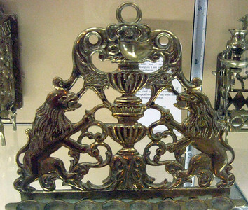 A brass menorah dating from the 16th century.