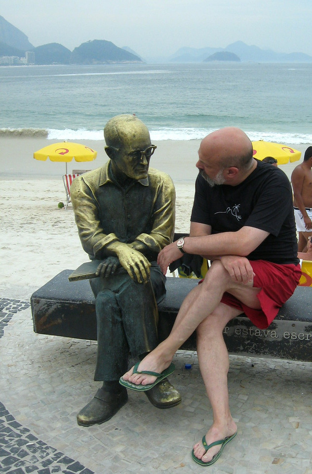 Me and my other friend on Copacabana Beach (actually--this statue is of Carlos Drummond de Andrade, Brazilian poet and journalist).