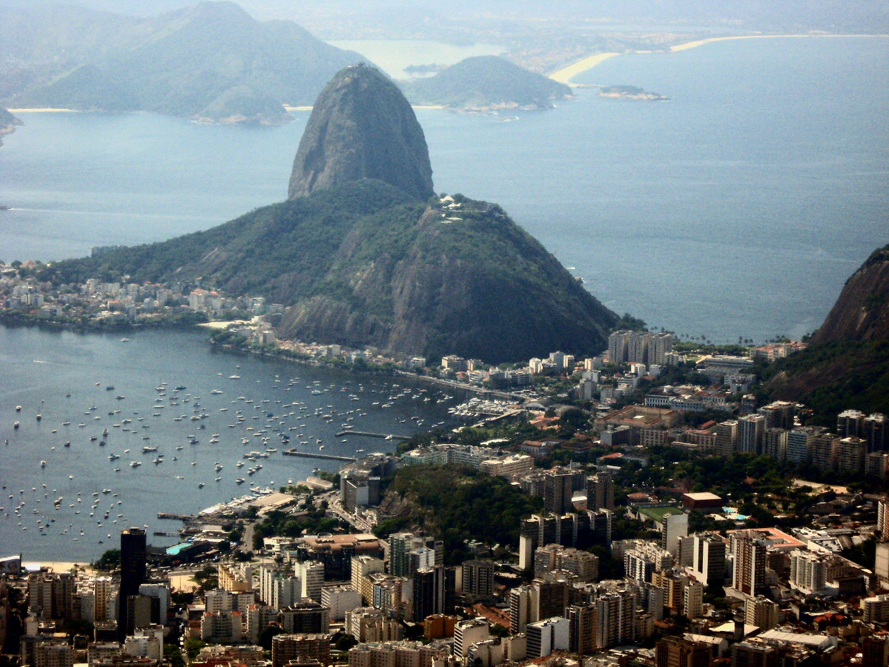 From Cristo Redentor--a view of Sugar Loaf.