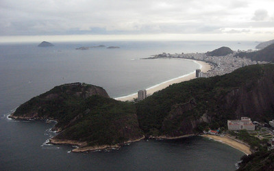 At the summit, facing the curving beach at Copacabana.