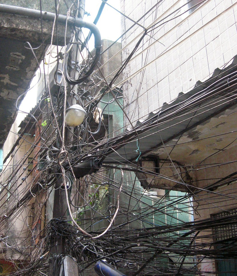 Electricity is tapped illegally--and only works three to four days a week. Pictured here is a commonly seen nest of wires and junctions.