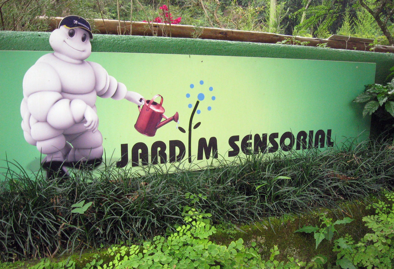 """And it was an unexpected pleasure to discover the Garden's """"Jardim Sensorial"""" (Sensory Garden""""), watched over by the Michelin Man??  (Corporate funding, even in Brazil!)  Years ago, I developed an audio described tour for the Chicago Botanic Garden's """"Enabling Garden."""""""