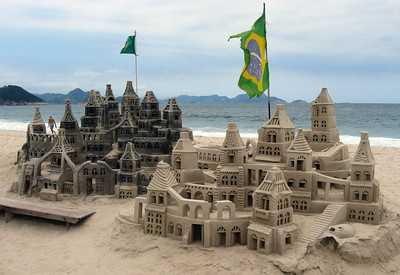 Castles in the sand on Copacabana Beach.