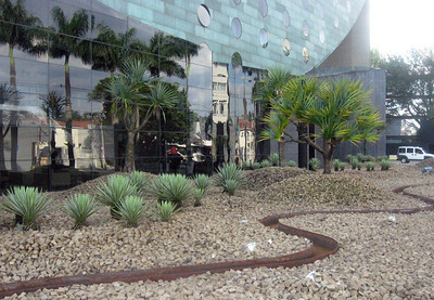 Landscaping at the front of the Hotel.