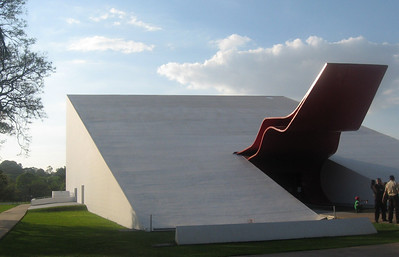 The Parque's Auditorio, its red tongue-like and curved door raised.