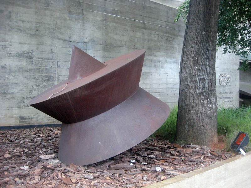 I ended the day with a brief visit and kosher meal at the Centro da Cultura Judaica.  Sao Paulo boasts a Jewish community of about 80,000 (half of Brazil's Jewish population).  The building's design suggests the shape of a torah; outside (pictured here), a huge metal dreidel.