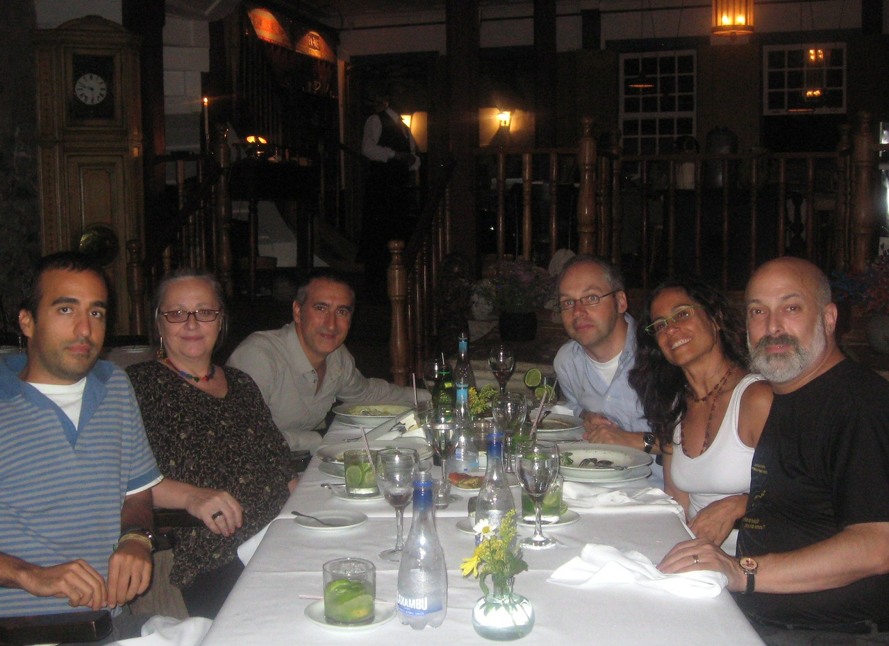 Concluding the formal conference, a night out in Our Preto--l-r:  friend of Eduard's; Lina Alvarenga, free-lance interpreter; Eduard Bartoll, Universitat Pompeu Fabra (Spain); Bernd, Eliana, me.