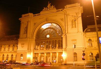 Departing for the train back to Bratislava--Budapest's Keleti train station