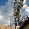 Receive antennas mounted on the rear tower.