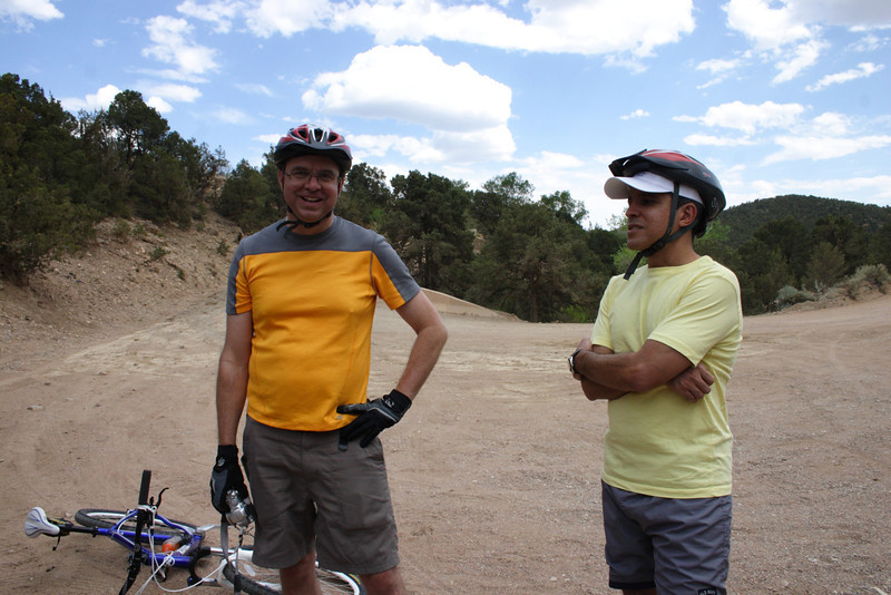 Bill and Nestor at the closed Dale Ball trailhead, making the best of the situation.