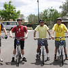 Bill Rideout, David Packard, Nestor Aponte, and Phil Erickson at the start of the trail after bike rental.